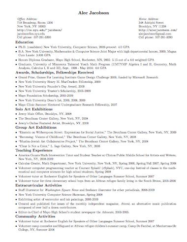 Resume Or Curriculum Vitae Cv In Latex Alec S Web Log